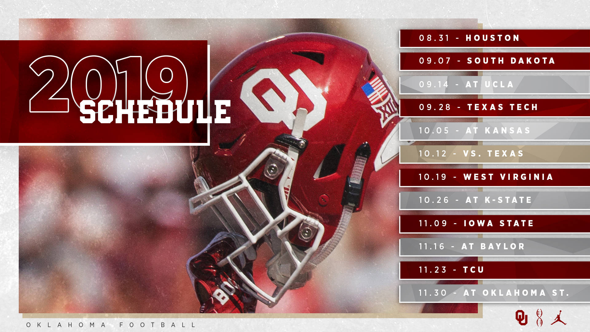 image about Printable College Football Schedules named 2019 OU Soccer Timetable Introduced - Higher education of Oklahoma