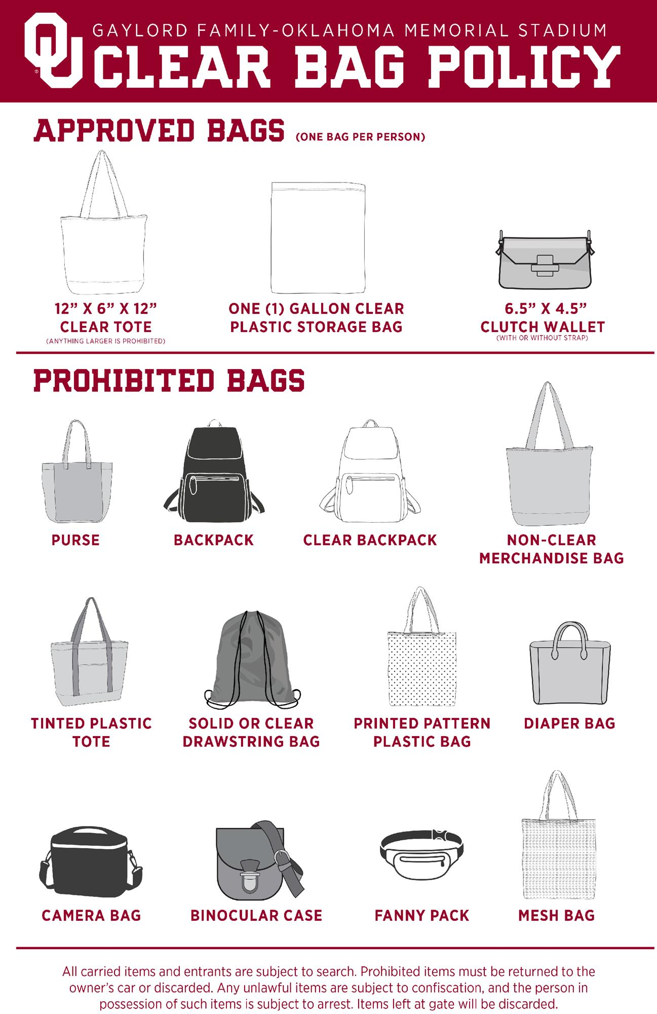 20fb clear bag policy - 2020 Sport Day Insurance policies & Procedures
